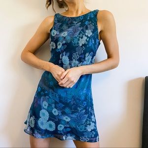 Vintage Blue Teal Floral Sleeveless Shift Dress M